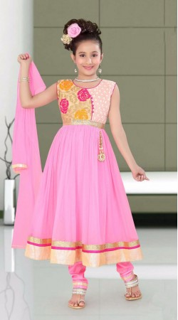 Beautifully Crafted Light Pink Net Kids Girl Anarkali Suit With Dupatta DTK952