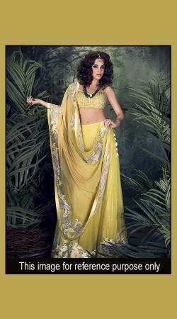 Beautifully Crafted Lime Yellow Designer Short Choli Lehenga SM0201