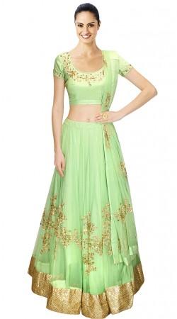 Beautifully Crafted Pastel Green Net Designer Lehenga Choli SUUDL12215