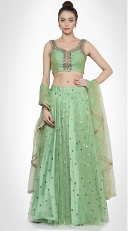 Beautifully Crafted Pastel Green Net Lehenga With Designer Choli SUUDL14816