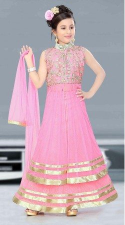 Beautifully Crafted Pink Net Kids Girl Indowestern Style With Dupatta DTK2252