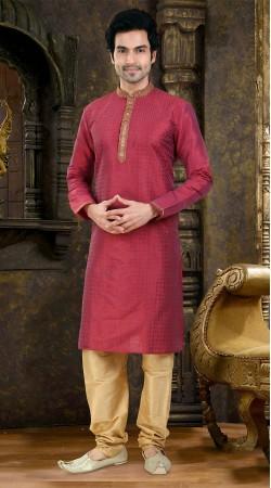 Beautifully Crafted Pinkish Red Art Raw Silk Kurta Payjama SIL1238