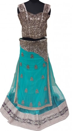 Beautifully Crafted Sky Blue And Silver Designer Lehenga Choli LD001007
