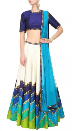 Beautifully Crafted White And Blue Dupion Silk Zig Zag Lehenga Choli SUUDL13716