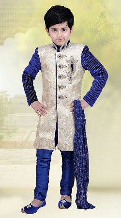 Beautifully Crafted White And Blue Kids Boy Sherwani DT2881A53