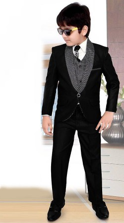 Beguiling Black Premium Fabric Kids Boy Tuxedo Coat Pant DT224153