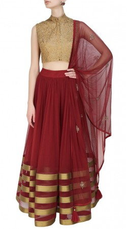 Beguiling Dark Red Net Lace Work Lehenga With Golden Choli SUUDL13216