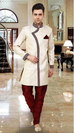 Beguiling Off White Banarsi Brocade Indowestern Sherwani DTINDO15550