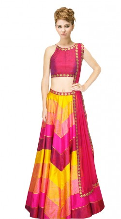 Beguiling Pink And Yellow Silk Crop Top Lehenga With Dupatta SUUDL9615