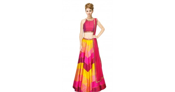 Pink And Yellow Silk Crop Top Lehenga Suudl9615