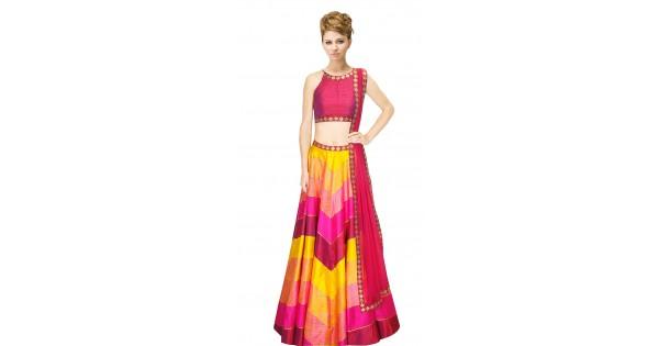 Pink And Yellow Silk Crop Top Lehenga Suudl9615