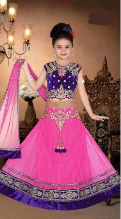 Beguiling Pink Net Kids Girl Lehenga With Kasab Work Choli DT91856