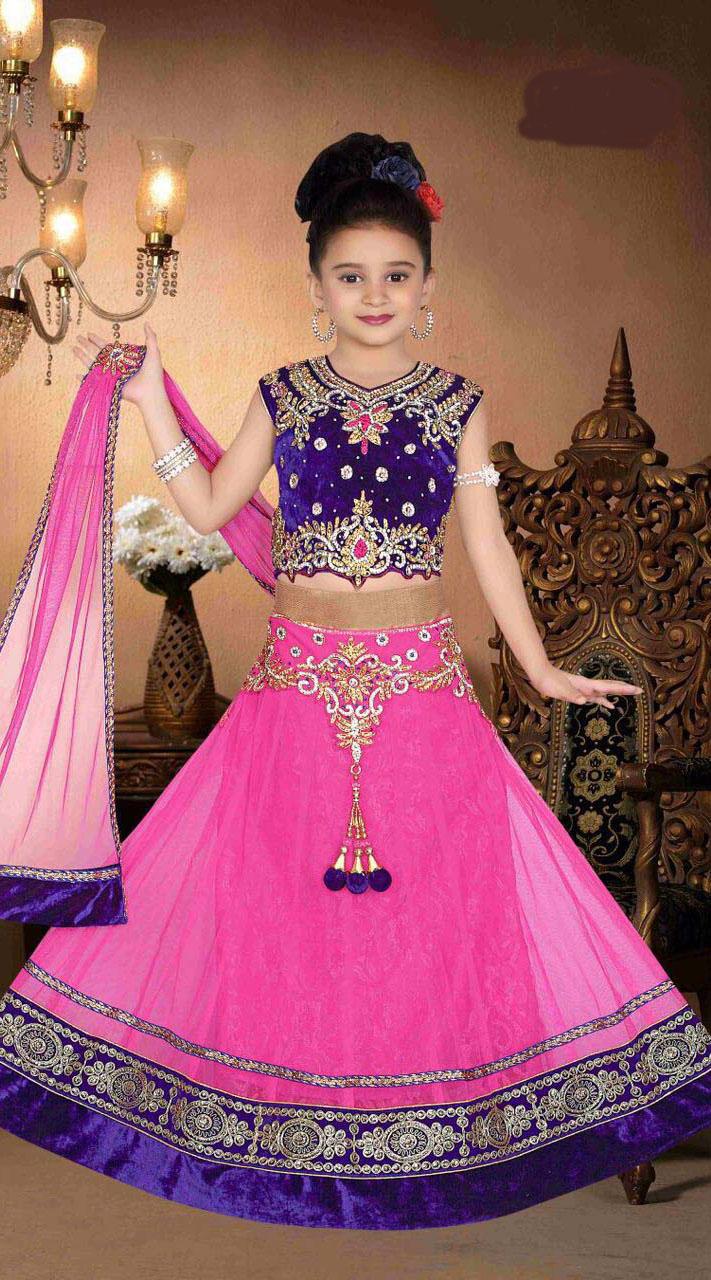 Pink Net Saree: Pink Net Kids Lehenga With Kasab Work Choli DT91856