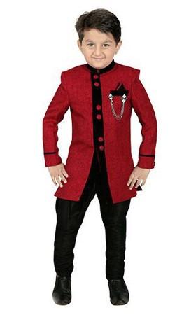 Beguiling Red Premium Fabric Kids Boy Indo Western Sherwani DT307053