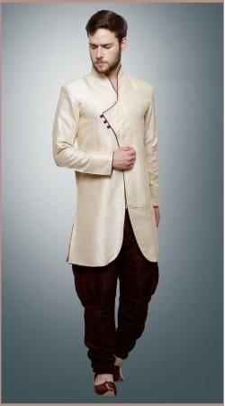 Beguiling Silk Brocade White Indowestern Balloon Pant Sherwani DTINDO6760
