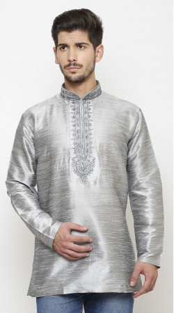Beguiling Silver Chinese Collar Style Dupian Silk Men Short Kurta DTMK447