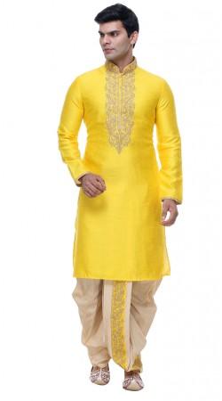 Beguiling Yellow Silk Embroidered Mens Kurta With Dhoti Salwar GR140103