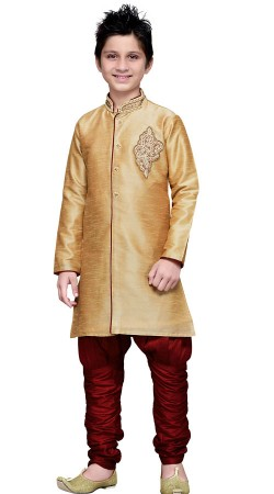 Beige Art Silk Indo Western Sherwani For Kid Boy GR16612