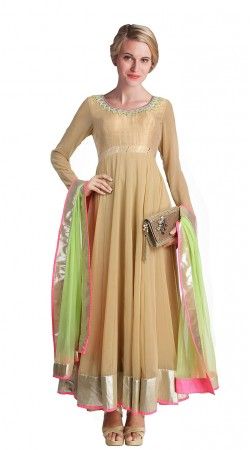 Beige Faux Georgette Ankle Length Anarkali Suit SUUDS18402