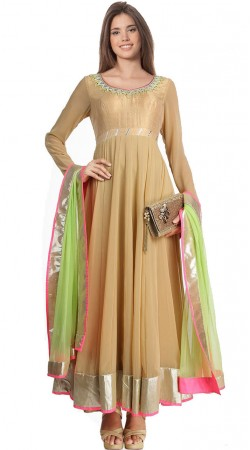 Beige Georgette Ankle Length Anarkali Suit SU7401