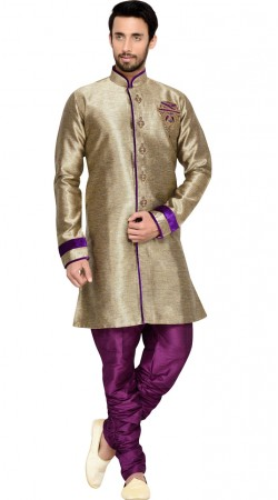 Beige Gold Brocade Party Wear Sherwani With Breeches Pant GR144609