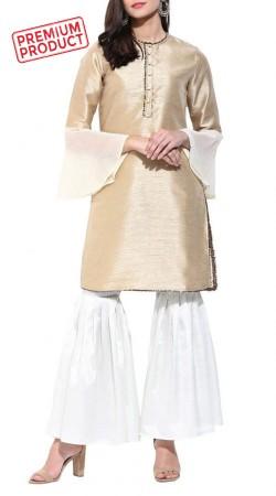 Beige Gold Raw Silk Short Kameez With Sharara Pant BP1345