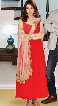 Bhabi Ji Ghar Par Hai Red Chiffon Anita Salwar Kameez BP2230