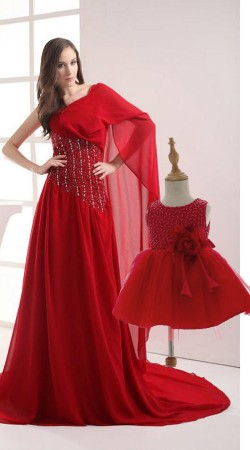 Birthday Party Wear Red Dress For Little Baby And Mom BP1450