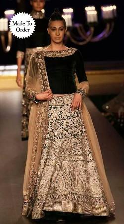 Black And Cream Premium Fabric Replica Wedding Lehenga Choli SMDS00J