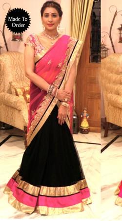 Black And Pink Net Replica Lehenga Choli With Pink Dupatta SMDS0KK