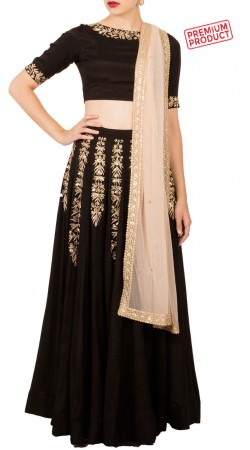 Black Chiffon Lehenga Choli With Contrast Dupatta BP0634