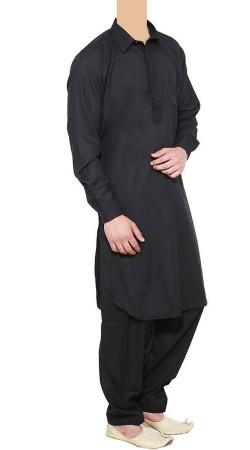 Black Cotton Linen Men Pathani Suit BP1138
