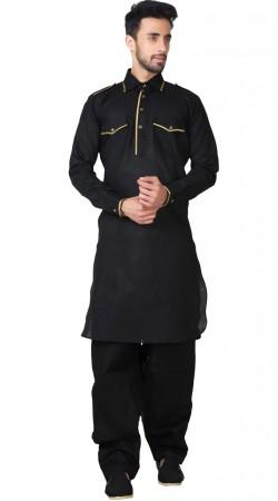 Black Cotton Linen Pathani Kurta Pajama GR154719