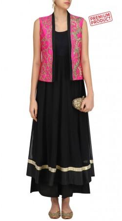 Black Designer Salwar Kameez With Embroidered Short Jacket SUMS30621