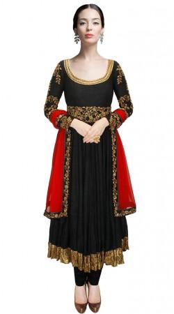 Black Dupion Silk Golden Border Long Anarkali Suit SUUDS31904