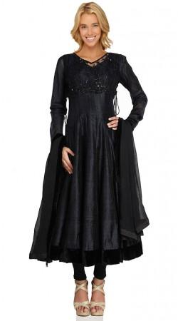 Black Dupion Silk Long Length Anarkali Suit SU1901