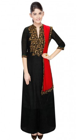 Black Dupion Silk Yoke Embroidered Ankle Length Anarkali Suit SUUDS31804