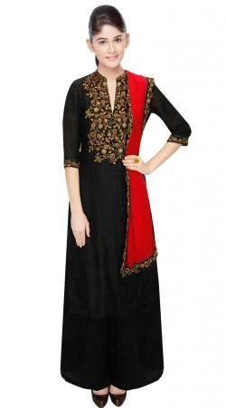Black Dupion Silk Yoke Embroidered Ankle Length Anarkali Suit SUUDS31804
