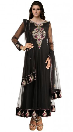 Black Net Ankle Length Anarkali Suit SUUDS19202