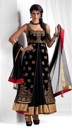 Black Georgette Ankle Length Anarkali Suit SU10501