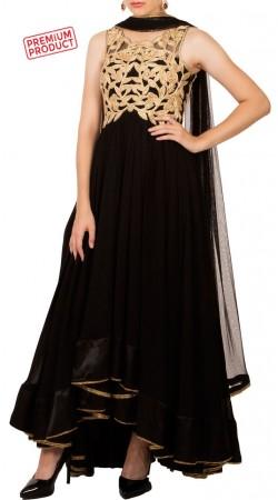 Black Georgette Cut Work High Low Anarkali Suit BP0234