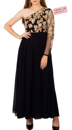 Black Georgette Designer One Sleeves Anarkali Suit BP3434