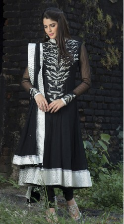 Black Georgette Long Length Anarkali Suit SU9701