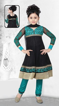 Black Georgette Readymade Kids Suit DT500429