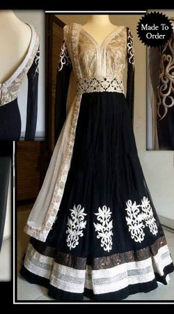 Black Georgette Replica Floor Length Anarkali Suit With Dupatta SMDS00P