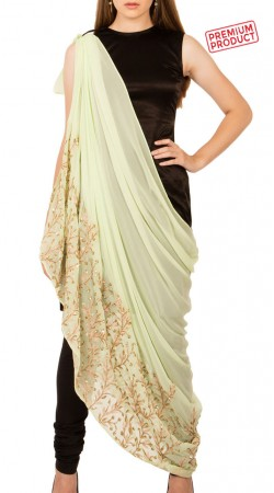 Black Inner With Embroidery Work Mint Green Drape Dress BP2334