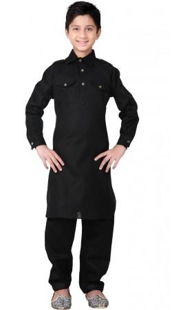 Black Linen Cotton Kid Boy Pathani Kurta Pajama GR25820