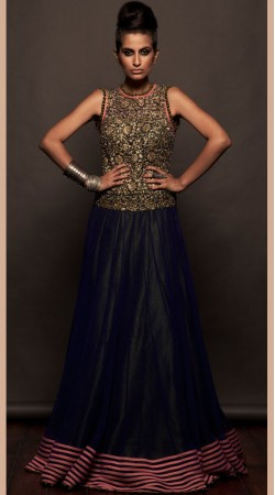 Black Net And Silk Floor Length Anarkali Suit SU8801