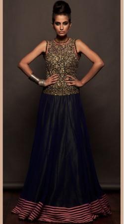 Black Net And Silk Floor Length Anarkali Suit SU8801