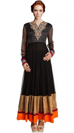 Black Net Ankle Length Anarkali Suit SU2401